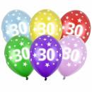 Bunte Ballons 30. Geburtstag mit Zahlen Einzeln