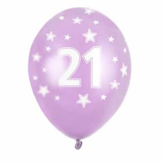 Rosa Ballons 21. Geburtstag mit Zahlen+ Sterne einzeln