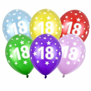 5 Ballons 18. Geburtstag Bunt oder Schwarz
