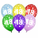5 Ballons 18. Geburtstag Hell-Blau
