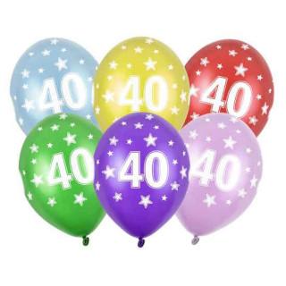 Bunte Ballons 40. Geburtstag Hellblau mit Zahlen