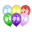 10 Bunte Ballons 70. Geburtstag im Farbmix mit Zahlen
