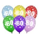 10 Bunte Ballons 80. Geburtstag im Farbmix mit Zahlen