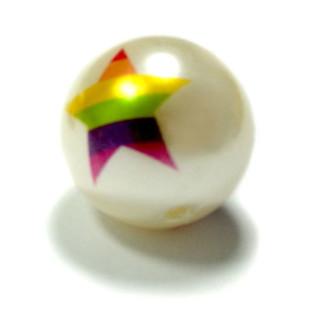 Weiße Perle mit Regenbogen-Stern 20mm Einzeln