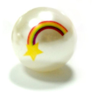 Weiße Perle mit Regenbogen+Stern 20mm Einzeln