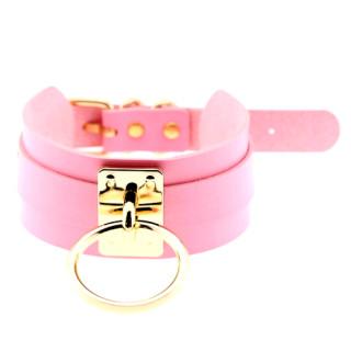 Leder-Halsband in Rosa mit goldfarbenem Zier-Ring
