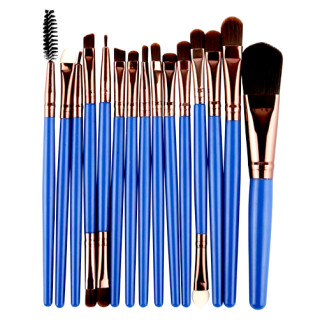 15 Make-Up Pinsel- u. Bürstenset Satz Blau-Kupfer Profi