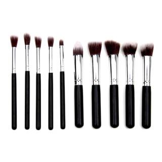10 Make-Up Pinselset Satz Schwarz-Silber Profi