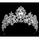 Weiß-Silberfarbene Strass-Kristall-Krone 6cm Queens