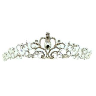 Silberfarbene Strass-Krone 47mm hoch für Queens