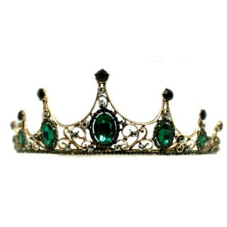 Grün-Schwarze Strass-Kristall-Krone 5cm hoch
