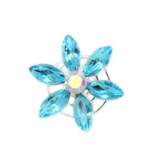 Hellblau-Kristallfarbene Blumen Haarnadel / Blüten