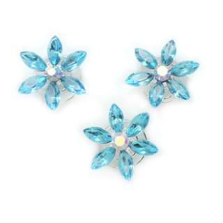 12er Set Hellblau-Kristallfarbene Blüten Haarnadel