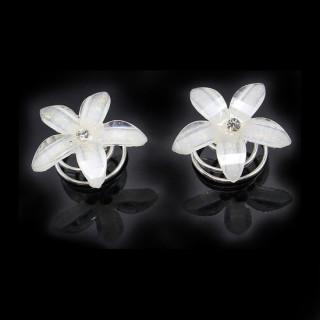 12er Set Kristall-Weiße Blumen Haarnadeln / Blüten