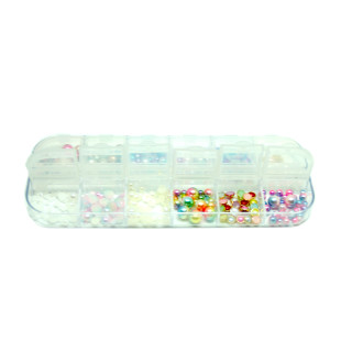 175 Perlen/Strasssteine Box Glitter Perlenoptik