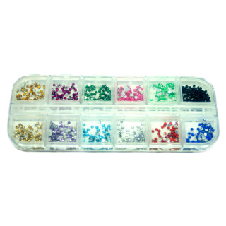 600 transparent bunt Halb-Holo Glitter Strasssteine Box