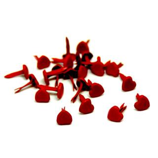 20 Herz-Klemmen in Rot 5 x 6mm für Brief