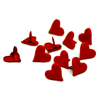 20 Herz-Klemmen in Rot 10 x 11mm für Brief